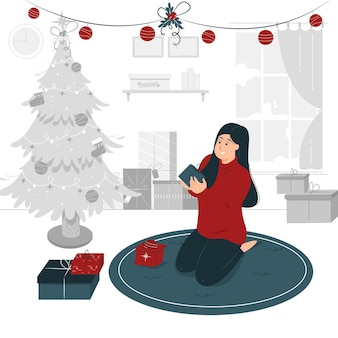 Progettazione dell'illustrazione di concetto di una ragazza che si siede e che tiene il regalo di natale