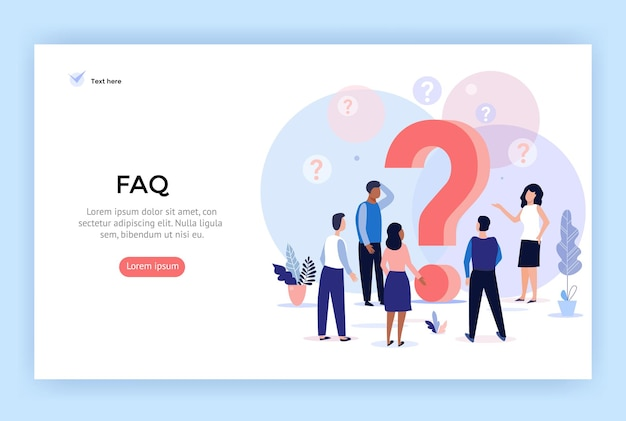 Illustrazione del concetto domande frequenti persone intorno ai punti interrogativi perfetti per il web design