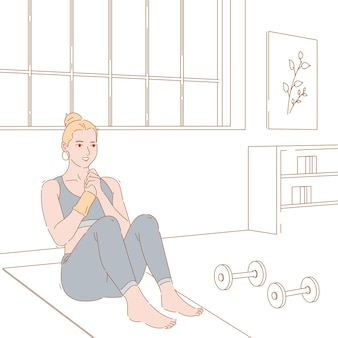 Progettazione grafica dell'illustrazione di concetto della donna che fa esercizio, allenamento e forma fisica.