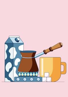 Illustrazione del concetto di fare il caffè cezve sul fornello a gas
