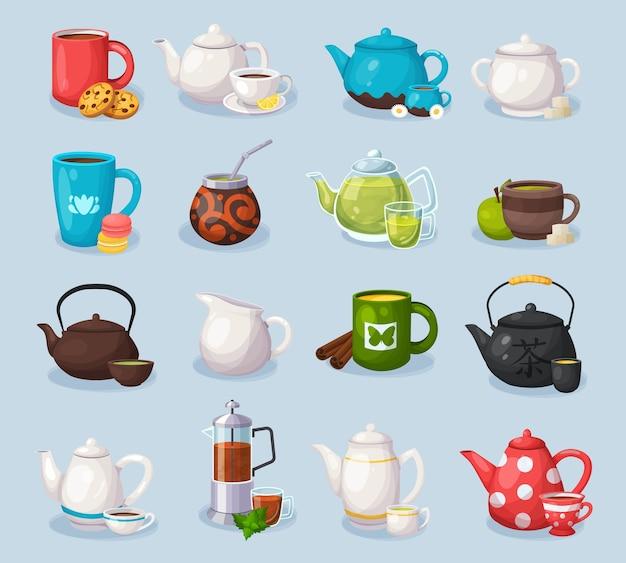 Illustrazione di concetto di etichette di tè e caffè. modello colorato per la cucina e il menu del ristorante.
