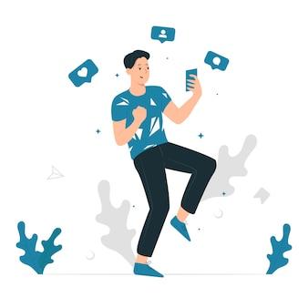 Progettazione grafica di vettore dell'illustrazione di concetto di un uomo felice per ottenere come dai social media