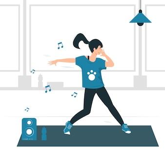 Illustrazione di concetto di una ragazza della donna che fa la danza, l'esercizio, l'allenamento e il fitness zumba.
