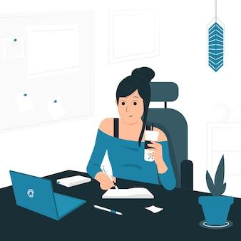 Illustrazione di concetto di una donna che lavora da casa seduto e scrivendo sulla scrivania. design piatto stile pieno