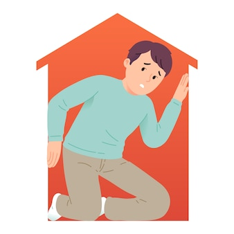 Illustrazione del concetto di giovane uomo che ha paura di spazi ristretti o claustrofobia