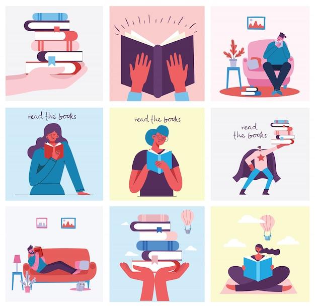 Illustrazioni concettuali della giornata mondiale del libro, lettura dei libri e festival del libro in stile piatto. le persone si siedono, si alzano e camminano e leggono un libro