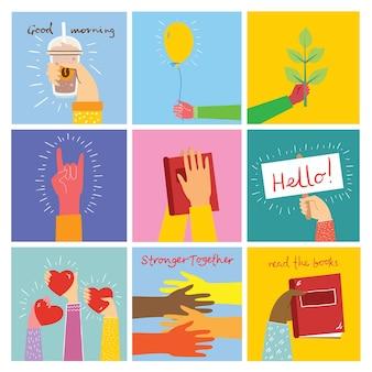 Illustrazioni di concetto della giornata mondiale del libro, lettura dei libri e festival del libro in stile piatto.