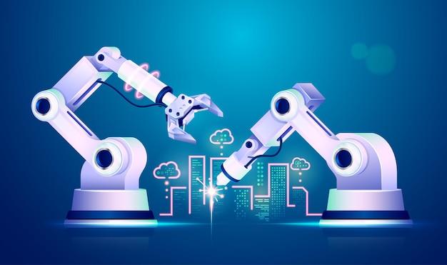 Concetto di industria 4.0 o internet delle cose (iot), grafica del braccio robotico che costruisce una città futuristica con elementi tecnologici