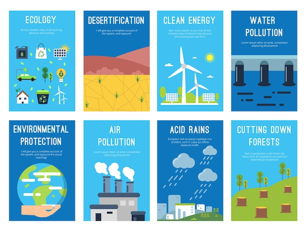 Schede di infographic di concetto al tema di ecologia. etichette ecologiche con posto per il testo. infografica ecologica bio, banner ambientale, desertificazione e piogge acide. illustrazione