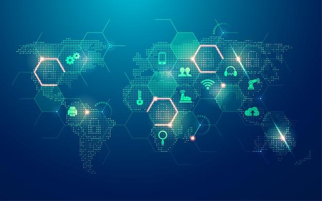 Concetto di internet delle cose, mappa del mondo tratteggiata con nuovo elemento tecnologico
