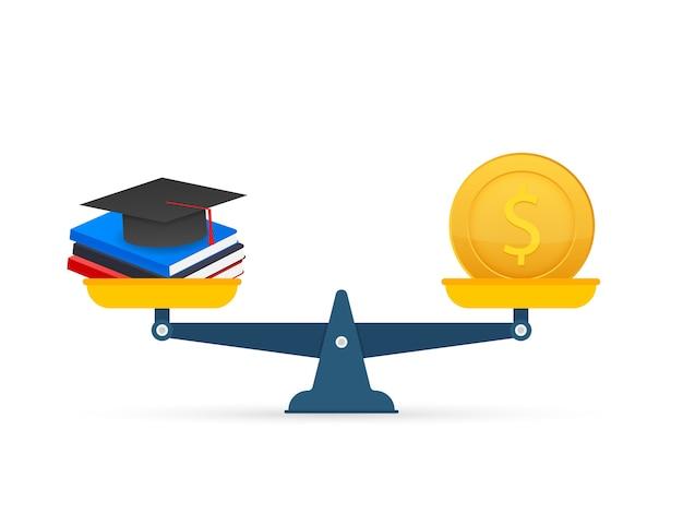 Concetto di investimento nell'istruzione con monete libri e bilance. illustrazione di riserva.