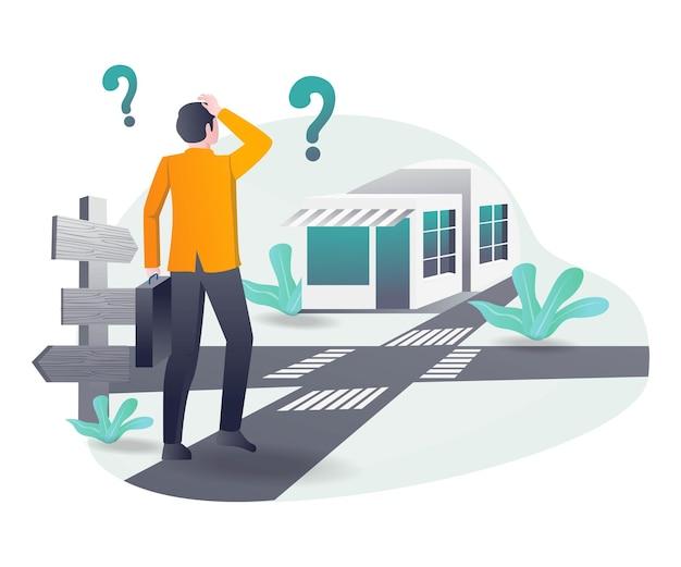 Il concetto di illustrazione isometrica una persona è confusa alla ricerca di indicazioni stradali