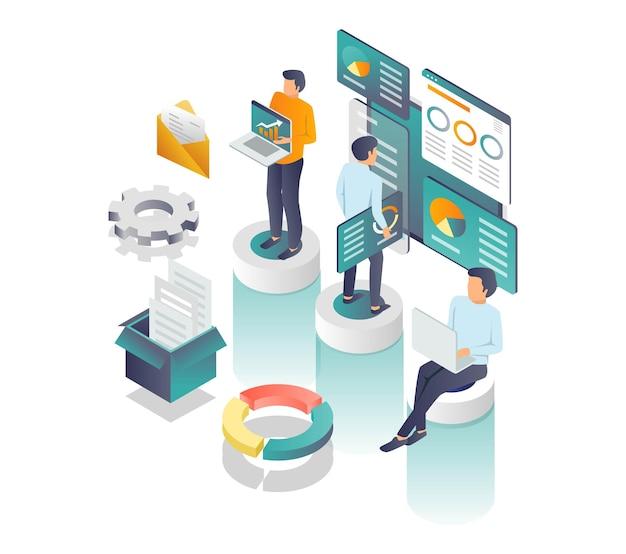 Il concetto di agenzia seo illustrazione isometrica e sviluppatore web
