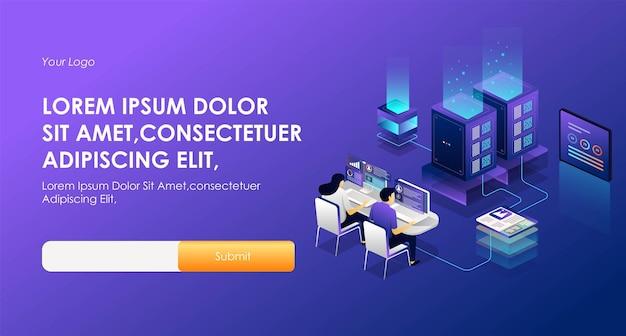 Il concetto di illustrazione di hosting di sicurezza isometrica e funziona nella sala server