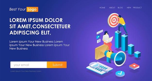 Il concetto di illustrazione di ottimizzazione seo isometrica e strategia di marketing o obiettivo aziendale