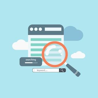 Concetto di ricerca per parole chiave, ottimizzazione on-page e ottimizzazione dei motori di ricerca