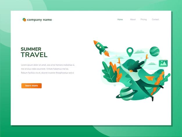 Il concetto di una pagina web di destinazione sulle vacanze Vettore Premium