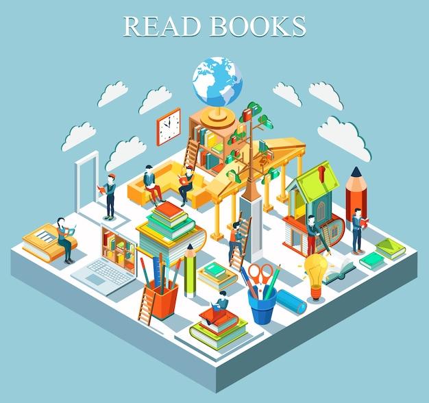 Il concetto di imparare e leggere libri. design piatto isometrico. .