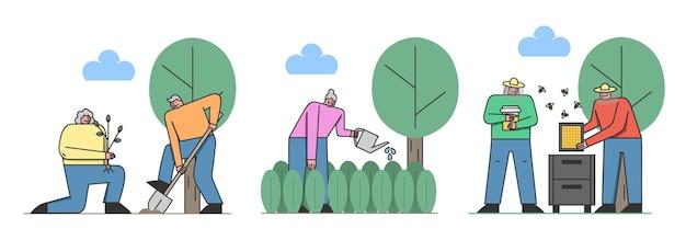 Concetto di tempo libero dei pensionati. personaggi invecchiati felici che comunicano, si godono il loro hobby insieme. uomini e donne stanno facendo giardinaggio e apicoltura. illustrazione piana di vettore del profilo lineare del fumetto