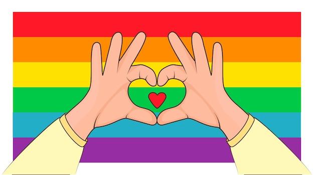 Concetto di orgoglio lgbt il segno d'amore modella il cuore con entrambe le mani