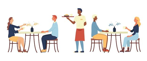 Concetto di pranzo. le persone sono sedute in un accogliente caffè urbano, bevono caffè, mangiano la cena. il cameriere porta l'ordine. i personaggi stanno comunicando e si divertono. illustrazione di vettore piatto del fumetto.