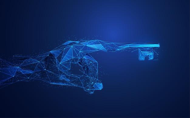 Concetto di machine learning o trasformazione digitale, mano wireframe pionting con il dito chiave