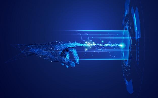 Concetto di machine learning, wireframe mano che raggiunge gli elementi della tecnologia digitale