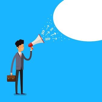 Concetto di marketing o pubblicità. uomo con megafono. design piatto, illustrazione vettoriale.