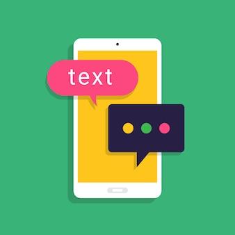 Messaggio di concetto e chat. presenti tramite messaggio di testo icona. illustrare