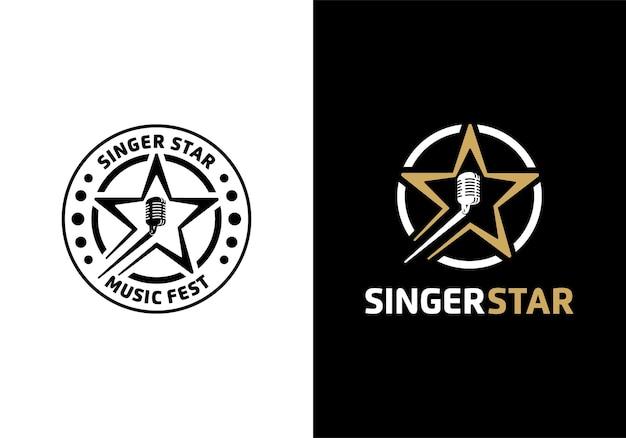 Concetto di microfono con stella. audizione di canto, modello di progettazione dell'illustrazione del logo della stella del cantante