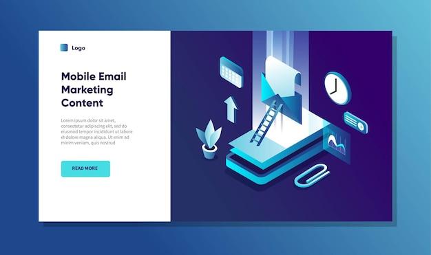 Concetto di notifica di marketing tramite posta elettronica mobile