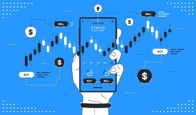 Concetto per il commercio online mobile di compravendita di azioni per l'analisi del mercato azionario e gli investimenti