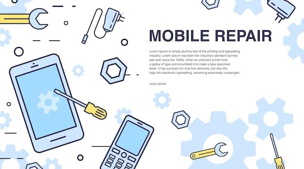 Concetto di riparazione del telefono cellulare. banner orizzontale con smartphone e strumenti.