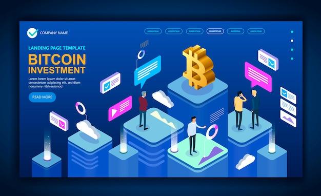 Concetto moderno sito isometrico aziendale dedicato a bitcoin, banner concetto vettoriale isometrico, concetto isometrico vettoriale marketing e finanza. illustrazione vettoriale