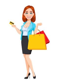Concetto di donna d'affari moderna la donna d'affari del personaggio dei cartoni animati dai capelli rossi va a fare shopping