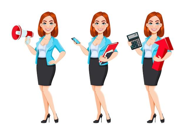 Concetto di donna d'affari moderna redhead personaggio dei cartoni animati imprenditrice set di tre pose