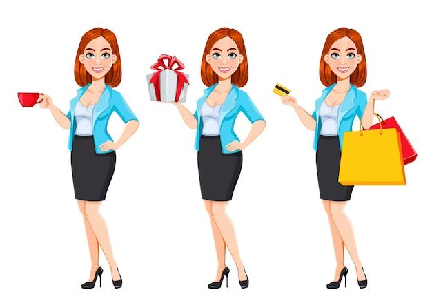 Concetto di donna d'affari moderna donna d'affari personaggio dei cartoni animati dai capelli rossi set di tre pose