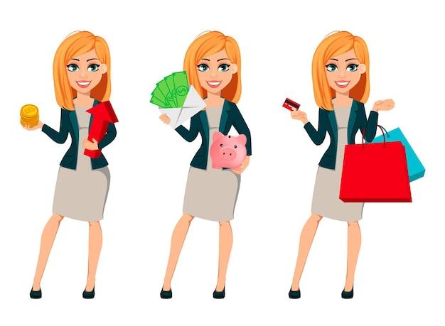 Concetto di donna d'affari moderna, set di tre pose