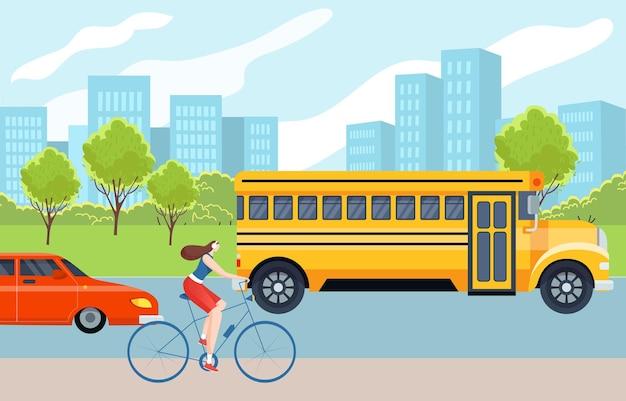 Concetto moderno concetto di trasporto urbano con bicicletta da equitazione carattere donna