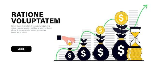 Concetto in moderni colori neri piatti sul tema della crescita del capitale investimenti finanziari