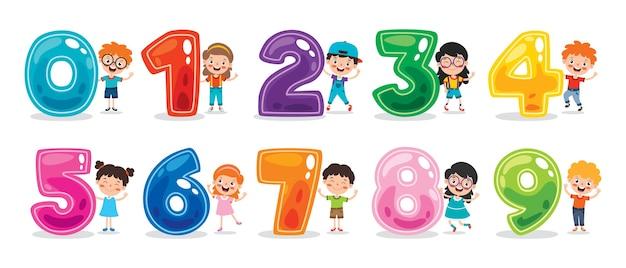 Concetto di numeri multi colorati