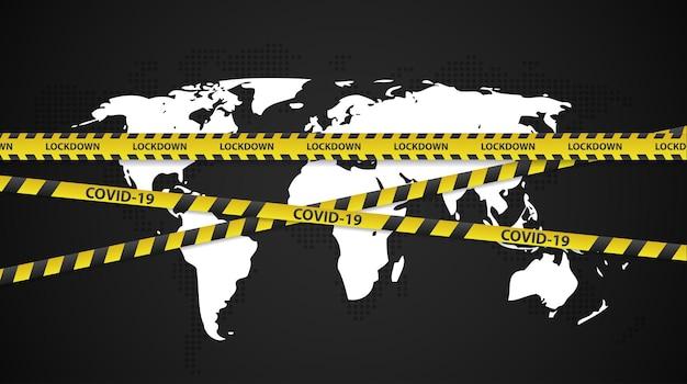 Il concetto di blocco nazionale dovuto al coronavirus annuncia lo stato di emergenza dell'ordine di controllo del movimento