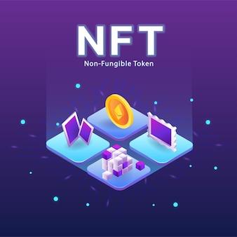 Concetto di nft, token non fungibile con vettore di rete su sfondo scuro