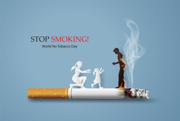 Concetto di non fumatori e carta per la giornata mondiale senza tabacco con la famiglia in stile collage di carta con artigianato digitale.