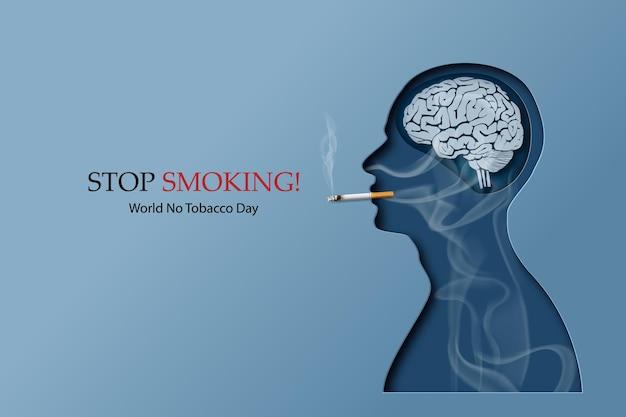 Concetto di non fumare e carta della giornata mondiale senza tabacco con fumo umano in stile collage di carta con artigianato digitale.