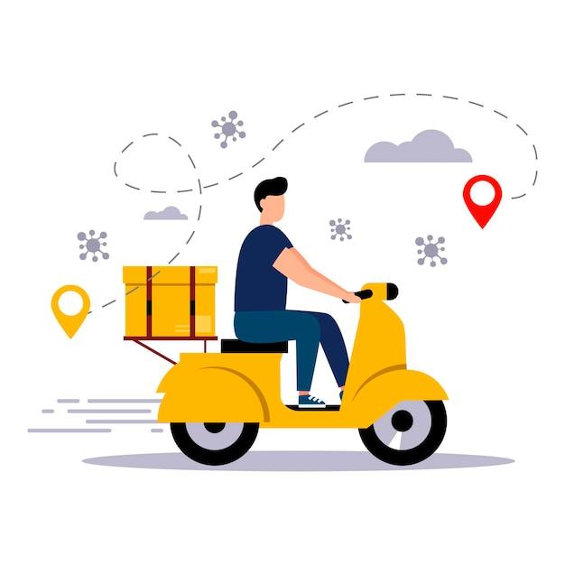 Il concetto di servizio di consegna online covid19 consegna a domicilio e in ufficio stile piatto vettoriale