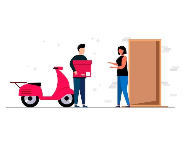 Il concetto di corriere di consegna a domicilio e in ufficio del servizio di consegna online