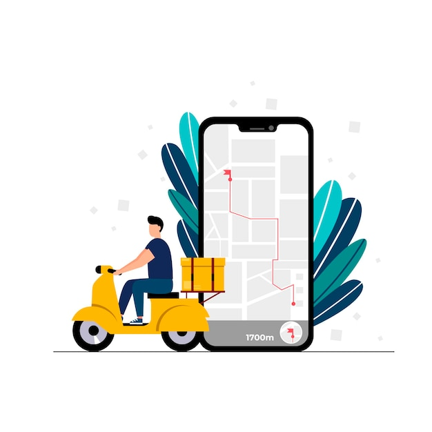 Il concetto di servizio di consegna online che monitora la consegna degli ordini online a casa e in ufficio