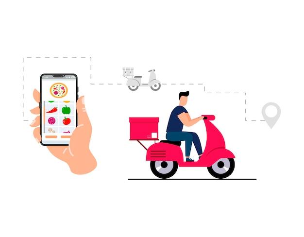 Il concetto di servizio di consegna online monitoraggio degli ordini online consegna a casa e in ufficioil corriere
