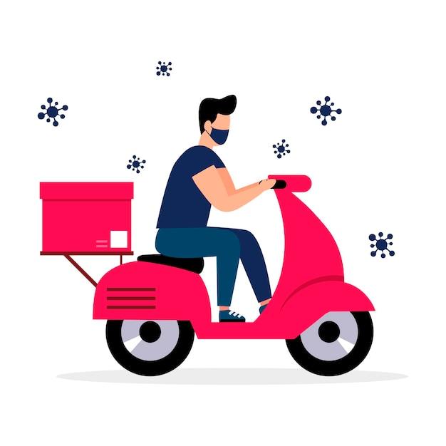 Il concetto di servizio di consegna onlineconsegna a domicilio e in ufficioconsegna l'ordinestile piatto vettoriale